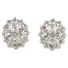 Delicate Diamond and 18K White Gold Snowflake Open Work Earrings
