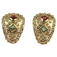 Funky Pair of Peridot and Garnet 18K Gold Huggies Earring Clips