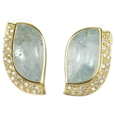 Funky Natural Aquamarine and Diamond 18K Gold Statement Earrings