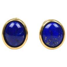 Vintage Lapis Lazuli Vivid Cobalt Blue 18K Gold Clip Earrings