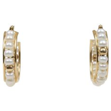 Estate Freshwater Pearl and 14K Gold Hoop Earrings