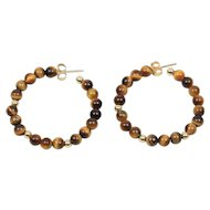 Estate Natural Tigers Eye 14K Yellow Gold Hoop Earrings