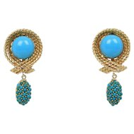 Natural Turquoise Dangle 14K Gold Vintage Drop Earring Clips