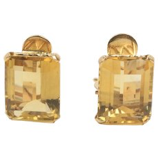 Retro Era 16 Carats Natural Citrine and 18K Yellow Gold Clip Earrings