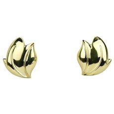 Vintage 18K Gold Heavy Leaf Floral Clip Earrings