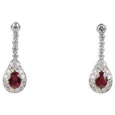 Elegant GIA Natural No Heat Ruby and 3 Carat Diamond Drop 18K Gold Earrings