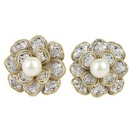 Platinum 18K Gold Pearl and 1.5 Carat Diamond Flower Cluster Clip Earrings