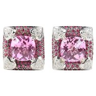 Pink Topaz, Ruby, and Diamond 18K White Gold Statement Clips Earrings
