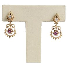 Delicate Garnet and Diamond 14K Gold Drop Dangling Earrings
