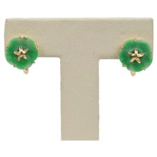 Delicate Carved Jade and 14K Gold Flower Star Screw On Clip Earrings