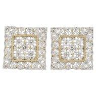 Vintage Platinum and 18K Gold Square Filigree 0.87 Carat Diamond Clip Earrings