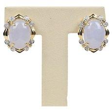 Vintage White Lavender Jade and Diamond 14K Gold Clip Earrings