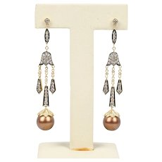 Chocolate Pearl and 1.9 Carats Diamond 14K Gold Chandelier Drop Earrings
