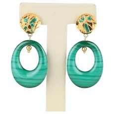 Vintage Malachite Enamel and 14K Gold Chandelier Drop Funky Earrings