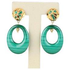 Vintage Malachite Enamel and 14K Gold Chandelier Drop Funky Earrings