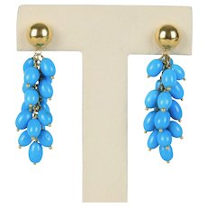 Vintage Turquoise and 14K Gold Festive Dangle Drop Chandelier Earrings