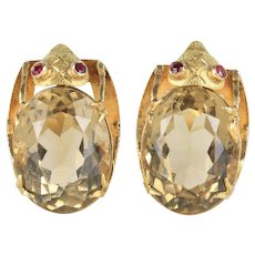 Large Vintage 18K Gold and Citrine Beetle Bug Italian Clip Earrings