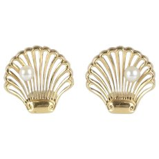Vintage 14K Gold and Pearl Seashell Scallop Shell Earrings Clips