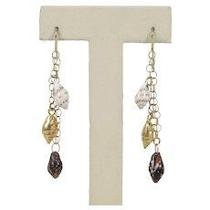 Vintage 14K Gold Summer Seashell Dangling Earrings