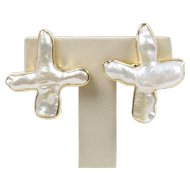 Christopher Walling Biwa Pearl 18K Gold Large Statement Clip Earrings