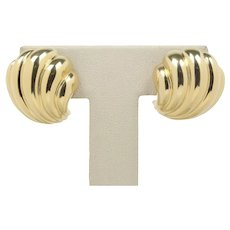Classic 18K Yellow Gold Scalloped Shell Clip Earrings