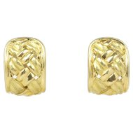 Vintage 18K Gold Hammered and Woven Textured Huggie Earrings