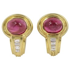 Vintage Pink Tourmaline and Diamond 18K Gold Clip Earrings