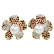 Large 18K Gold Diamond Ruby and South Sea Pearl Floral Earring Clips