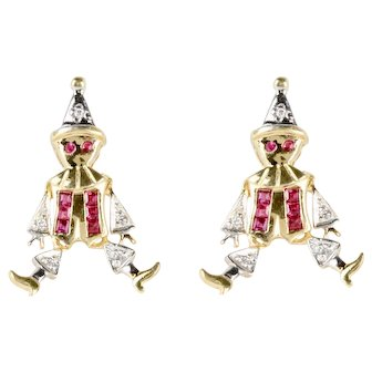 Vintage Diamond and Ruby 14K Gold Articulated Clown Jester Earrings