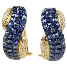 Sapphire and Diamond Invisible Set 18K Yellow Gold Huggie Earrings