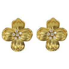 Vintage 18K Gold and Diamond Dogwood Flower Clip Earrings