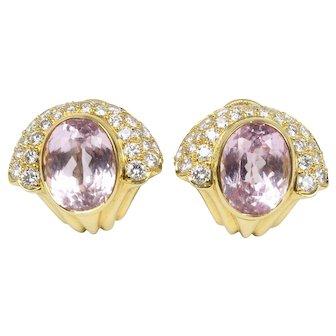 Vintage Kurt Wayne 16 Carat Kunzite and 2 Carat Diamond 18K Gold Tulip Clip Earrings