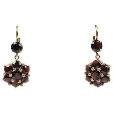 Vintage Garnet Cluster Drop 18K Gold Earrings