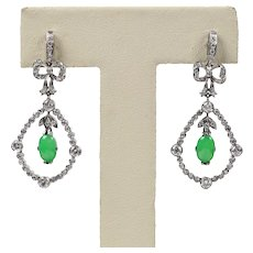 Edwardian Style Platinum Diamond and Natural Jade Chandelier Earrings