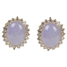 Lavender Jadeite Jade and 1.2 Carats Diamond Halo 14K Gold French Back Earrings