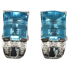 14K Gold Prismatic Cut Blue Topaz and Diamond Clip Earrings