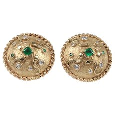 Vintage Dome Shaped Snake 1 Carat Emerald and 0.75 Carat Diamond Statement Earrings