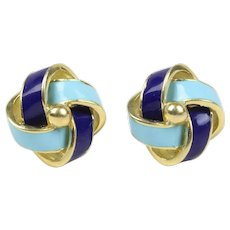 Vintage 18K Gold and Blue Enamel Love Knot Infinity Clip Earrings