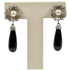 Edwardian Platinum and Diamond Wreath Motif Onyx Drop Antique Earrings