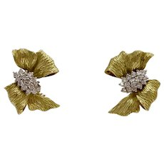 Vintage 18K Gold and 1.2 Carat Diamond Ribbon Bow Clip Earrings