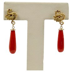 Vintage 14K Gold Dragon and Oxblood Coral Drop Earrings
