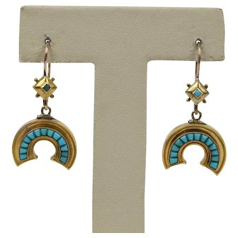 Victorian Turquoise and 14K Gold Horseshoe Good Luck Drop Earrings