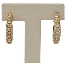 Vintage 4 Carat Diamond and 18K Gold Oval Shaped Hoop Huggie Earrings