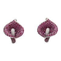 Stunning 8 Carat Natural Ruby and Diamond 18K Gold Lily Flower Clip Earrings