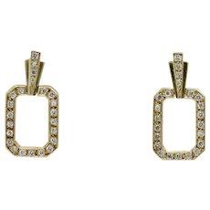 Funky 18K Gold and 1.2 Carat Diamonds Geometric Hanging Drop Earrings