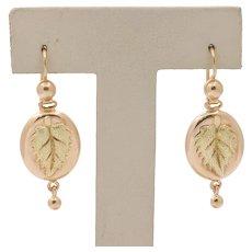 Vintage Russian 14K Gold Leaf High Relief Hanging Drop Earrings
