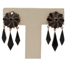 Victorian Onyx and 14K Gold Dangling Drop Mourning Earrings