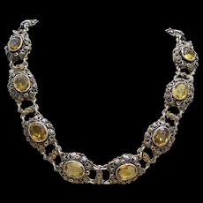 Victorian Austro-Hungarian Silver Gilt Ivy Necklace with Natural Citrines