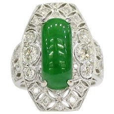 """GIA Certified Imperial Green """"A"""" Jadeite Jade Art Deco 18K Gold Ring with Diamonds"""