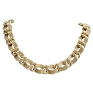 Vintage Chunky Link 18K Yellow Gold Necklace Choker